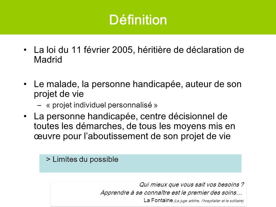 Définition La loi du 11 février 2005, héritière de déclaration de Madrid. Le malade, la personne handicapée, auteur de son projet de vie.
