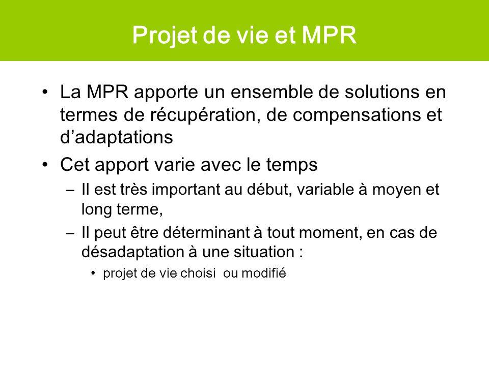 Projet de vie et MPR La MPR apporte un ensemble de solutions en termes de récupération, de compensations et d'adaptations.