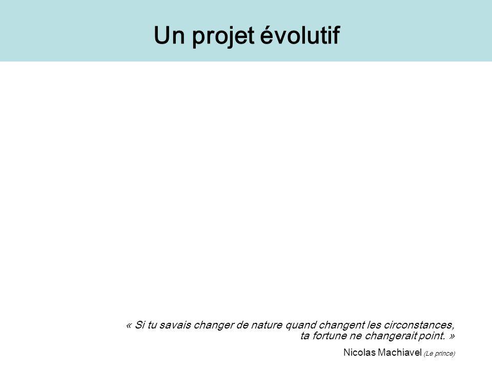 Un projet évolutif « Si tu savais changer de nature quand changent les circonstances, ta fortune ne changerait point. »