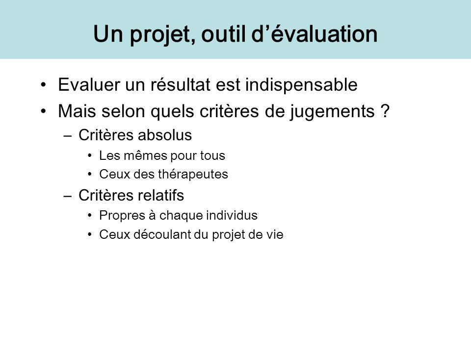 Un projet, outil d'évaluation
