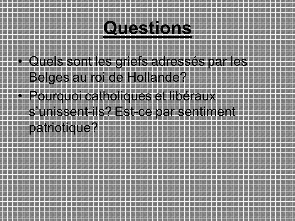 Questions Quels sont les griefs adressés par les Belges au roi de Hollande