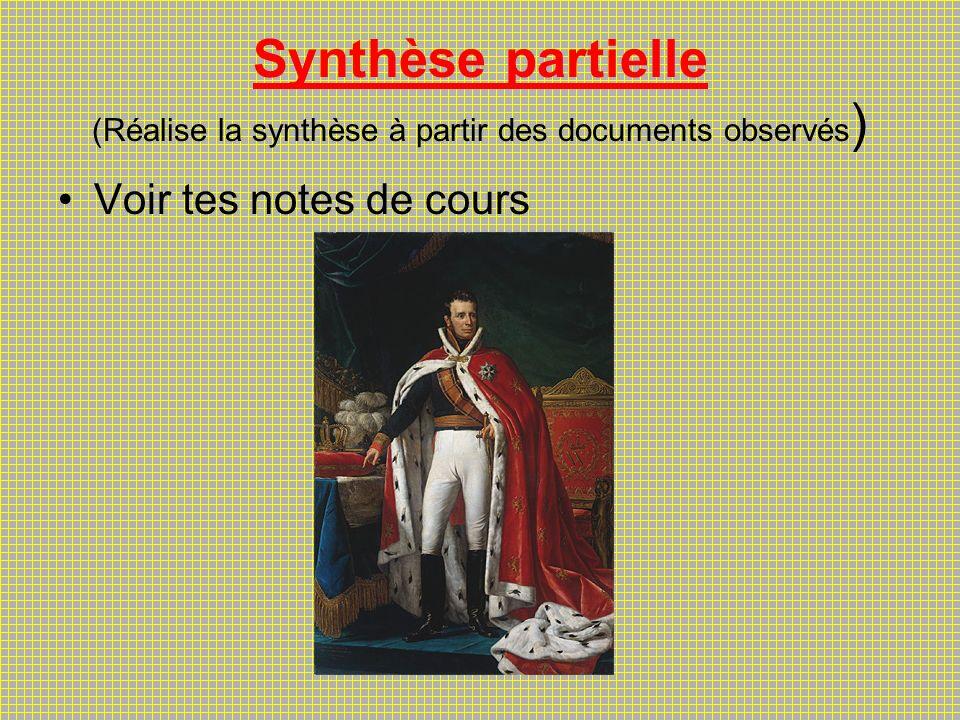 Synthèse partielle (Réalise la synthèse à partir des documents observés)