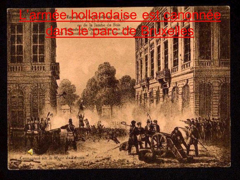 L'armée hollandaise est canonnée dans le parc de Bruxelles