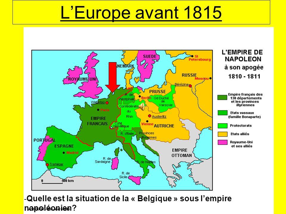 L'Europe avant 1815 -Quelle est la situation de la « Belgique » sous l'empire napoléonien