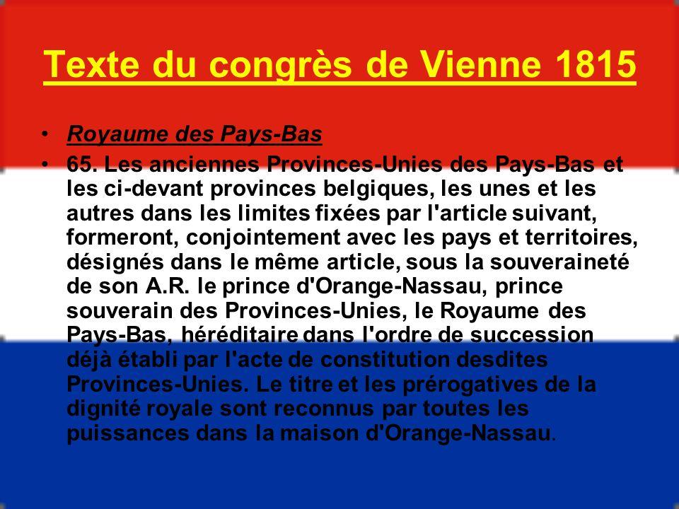 Texte du congrès de Vienne 1815
