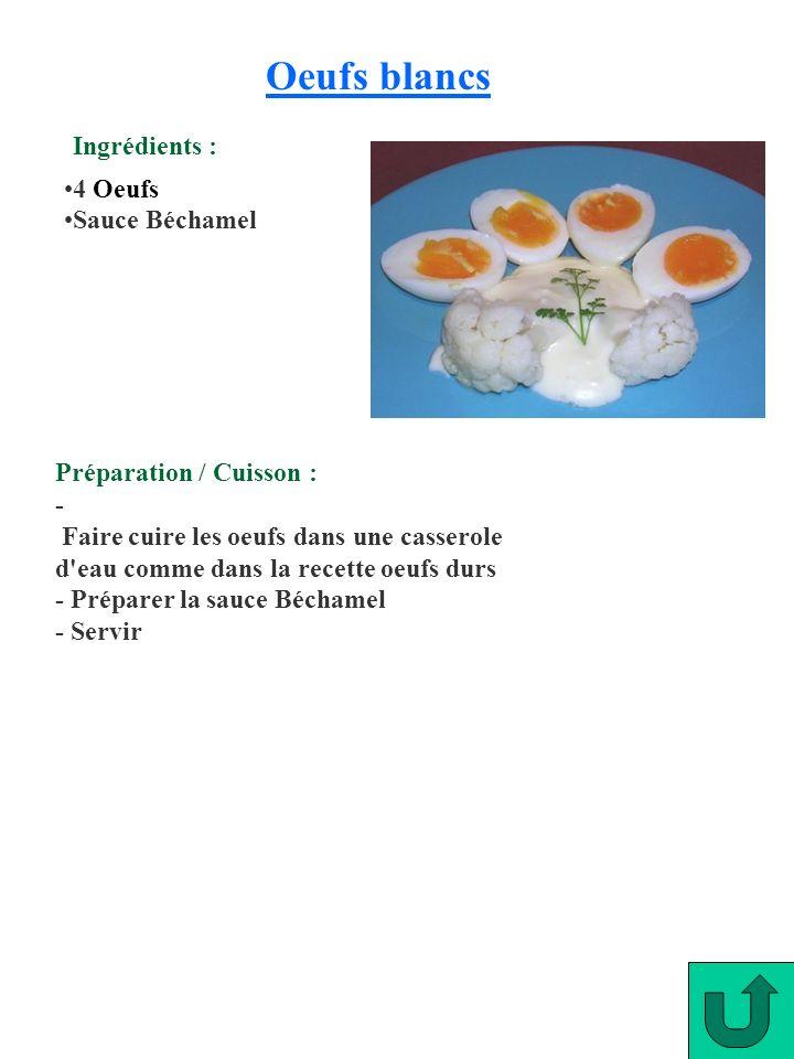 Oeufs blancs Ingrédients : 4 Oeufs Sauce Béchamel
