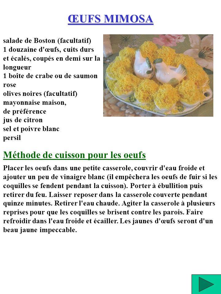 ŒUFS MIMOSA Méthode de cuisson pour les oeufs