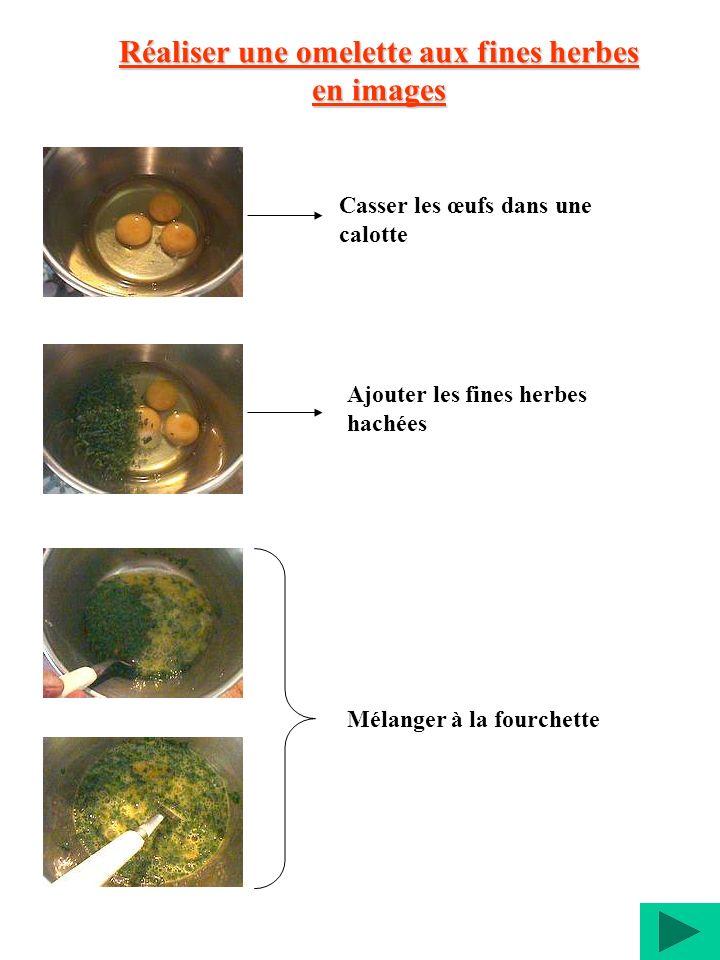 Réaliser une omelette aux fines herbes en images