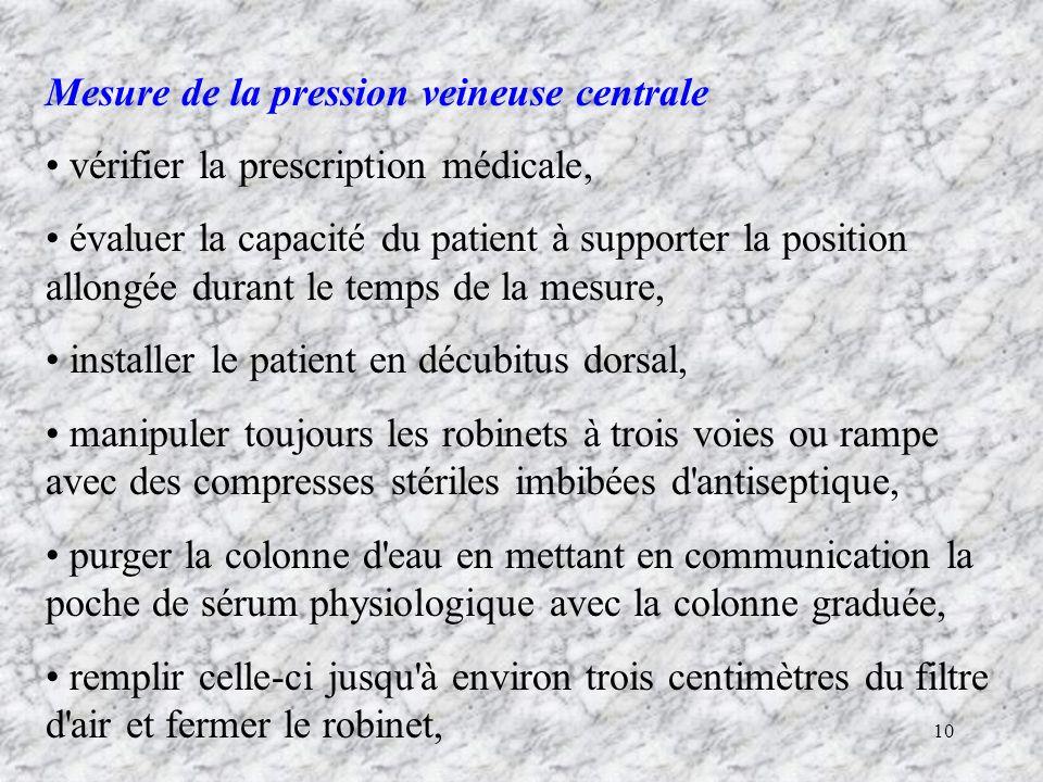 Mesure de la pression veineuse centrale