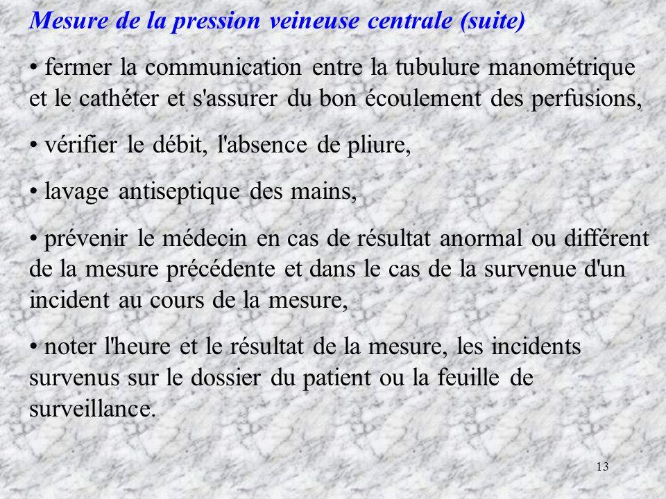Mesure de la pression veineuse centrale (suite)