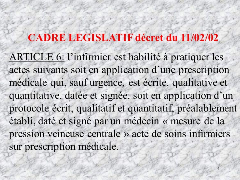 CADRE LEGISLATIF décret du 11/02/02