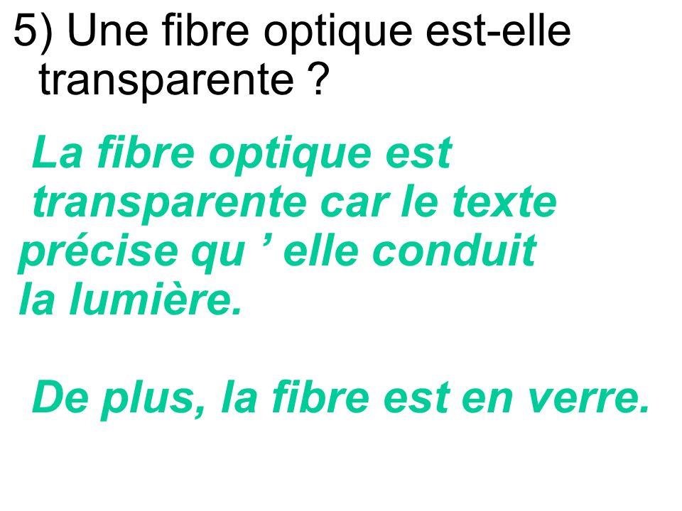 5) Une fibre optique est-elle transparente
