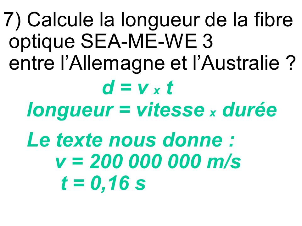 7) Calcule la longueur de la fibre optique SEA-ME-WE 3 entre l'Allemagne et l'Australie