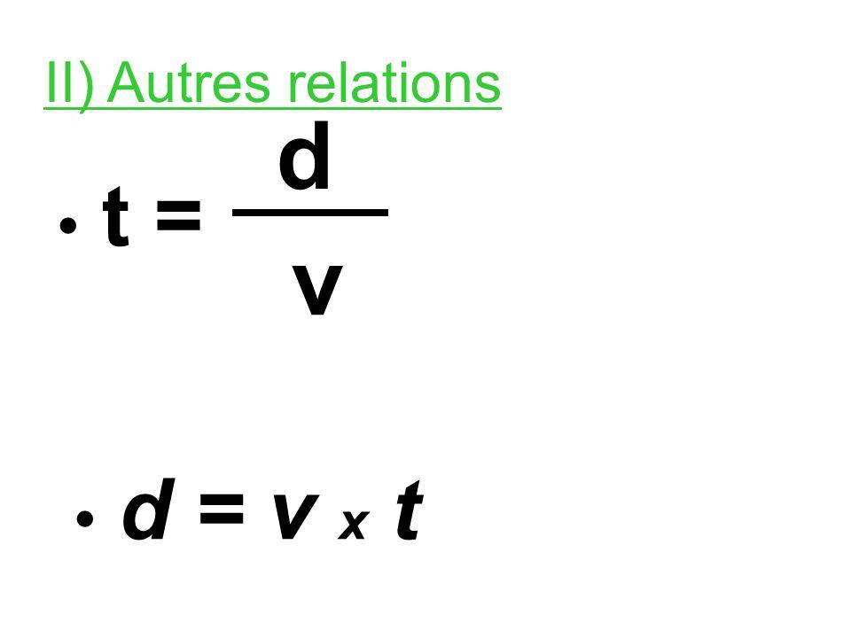 II) Autres relations • t = d v • d = v x t