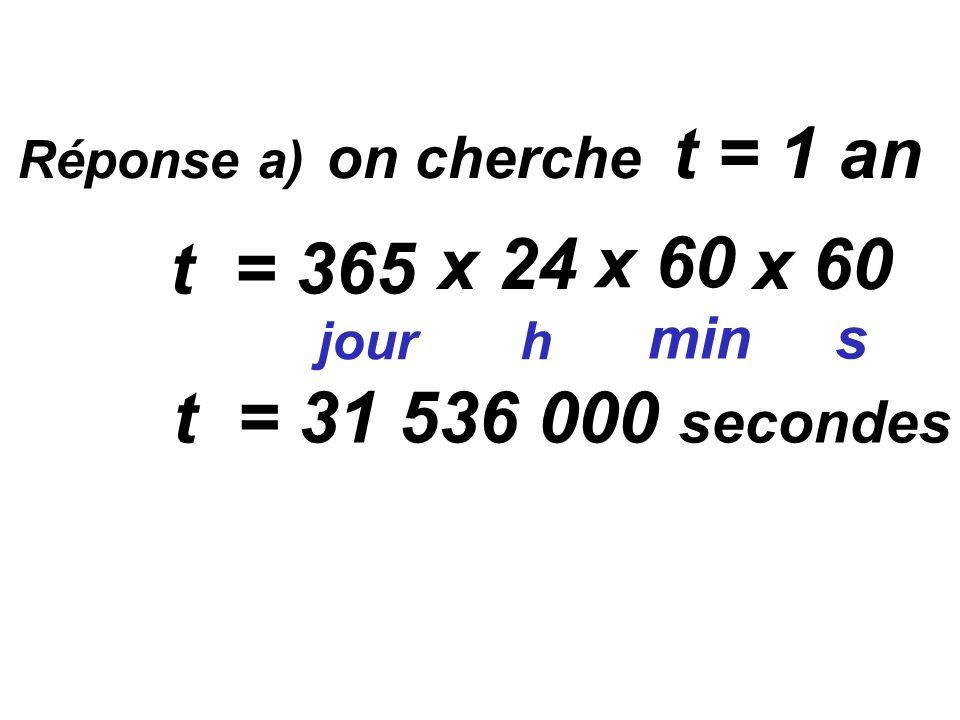 Réponse a) on cherche t = 1 an