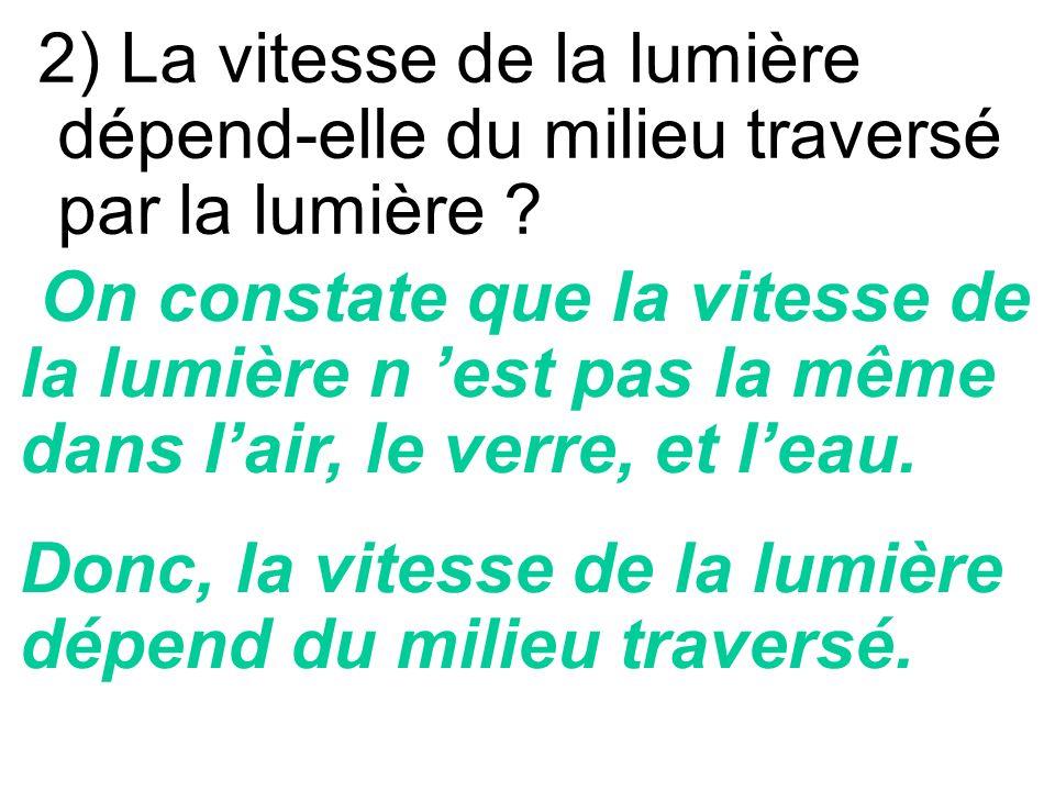 2) La vitesse de la lumière dépend-elle du milieu traversé par la lumière