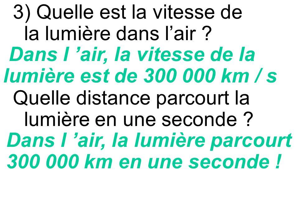 3) Quelle est la vitesse de la lumière dans l'air