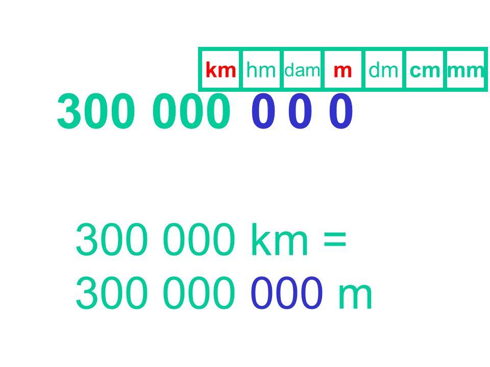 km hm dam m dm cm mm 300 000 300 000 km = 300 000 000 m