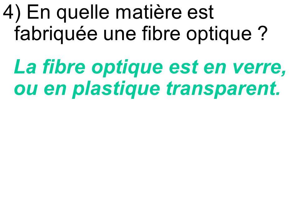 4) En quelle matière est fabriquée une fibre optique