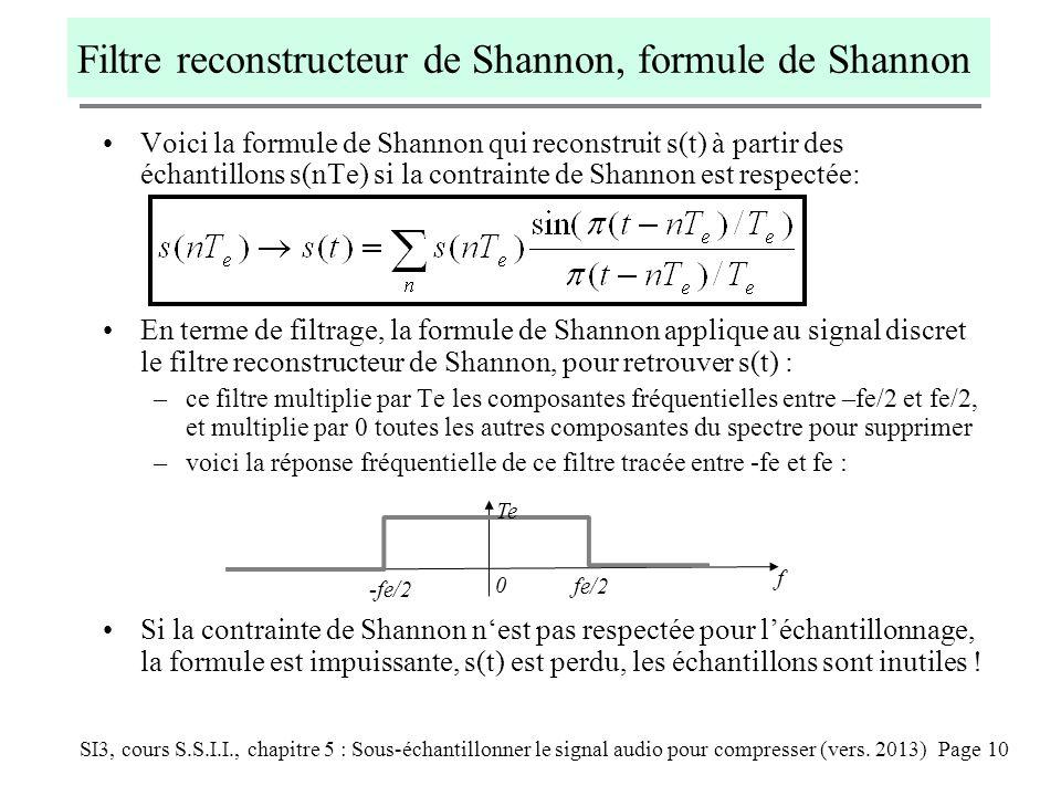 Filtre reconstructeur de Shannon, formule de Shannon