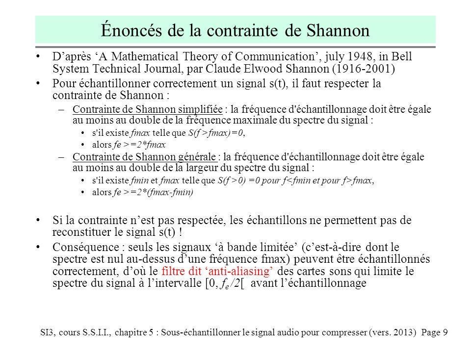 Énoncés de la contrainte de Shannon