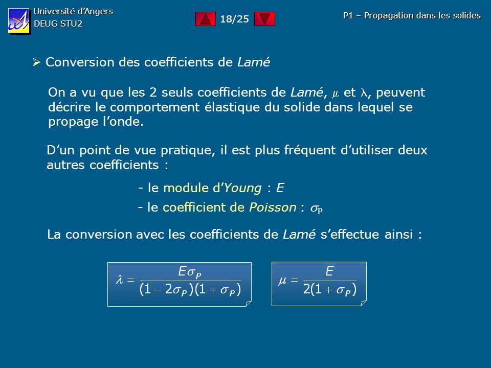  Conversion des coefficients de Lamé