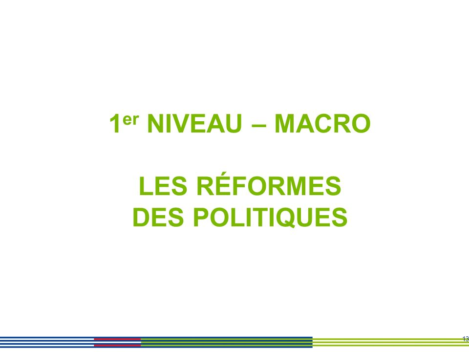 1er NIVEAU – MACRO LES RÉFORMES DES POLITIQUES