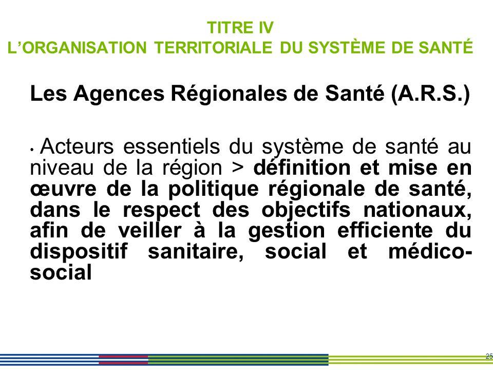 TITRE IV L'ORGANISATION TERRITORIALE DU SYSTÈME DE SANTÉ