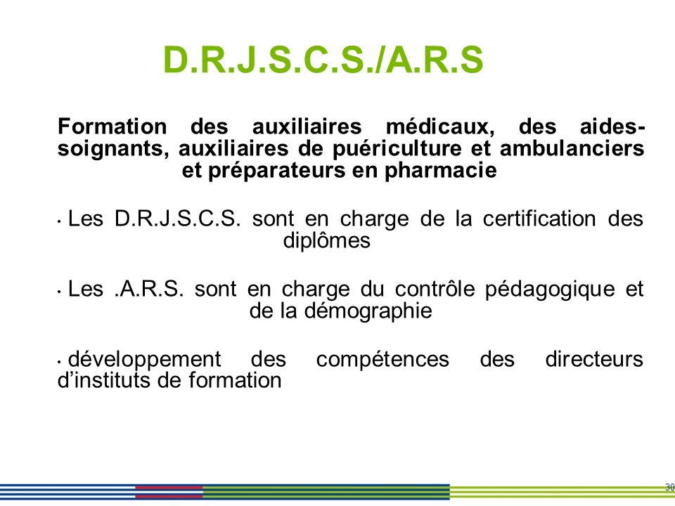D.R.J.S.C.S./A.R.S Formation des auxiliaires médicaux, des aides-soignants, auxiliaires de puériculture et ambulanciers et préparateurs en pharmacie.