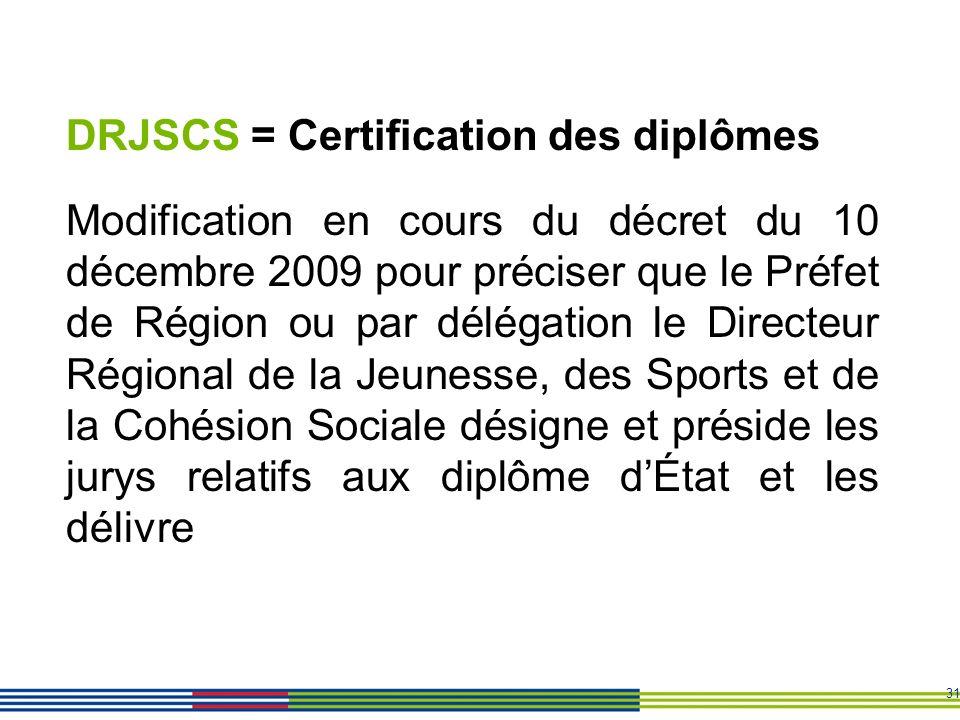 DRJSCS = Certification des diplômes