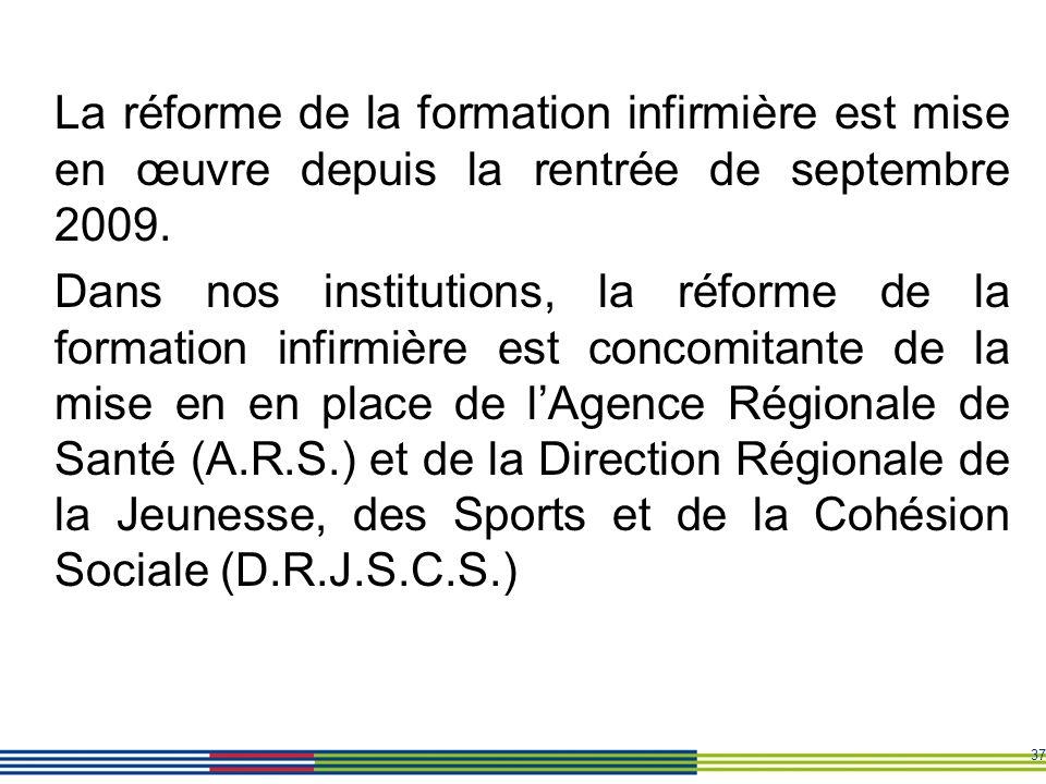 La réforme de la formation infirmière est mise en œuvre depuis la rentrée de septembre 2009.