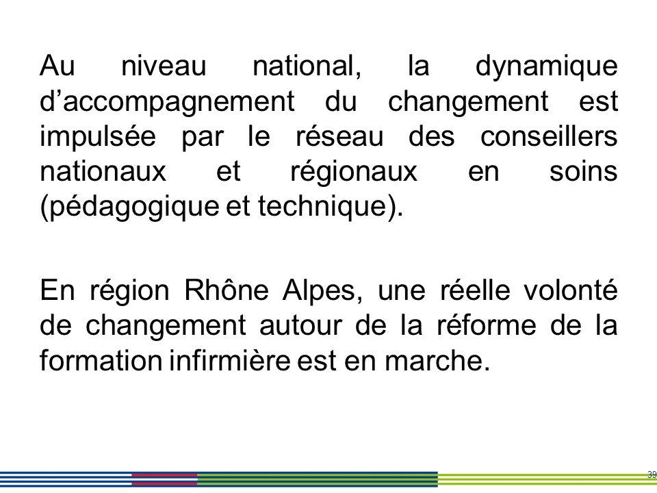 Au niveau national, la dynamique d'accompagnement du changement est impulsée par le réseau des conseillers nationaux et régionaux en soins (pédagogique et technique).