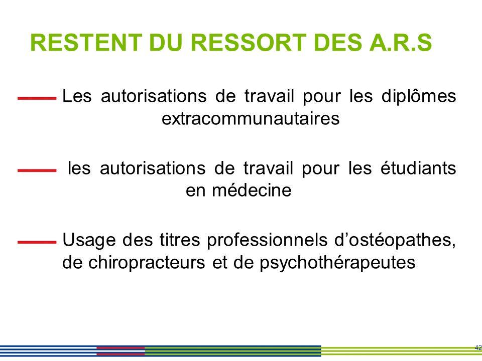 RESTENT DU RESSORT DES A.R.S