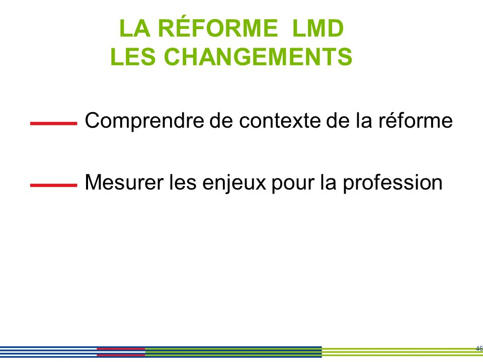 LA RÉFORME LMD LES CHANGEMENTS