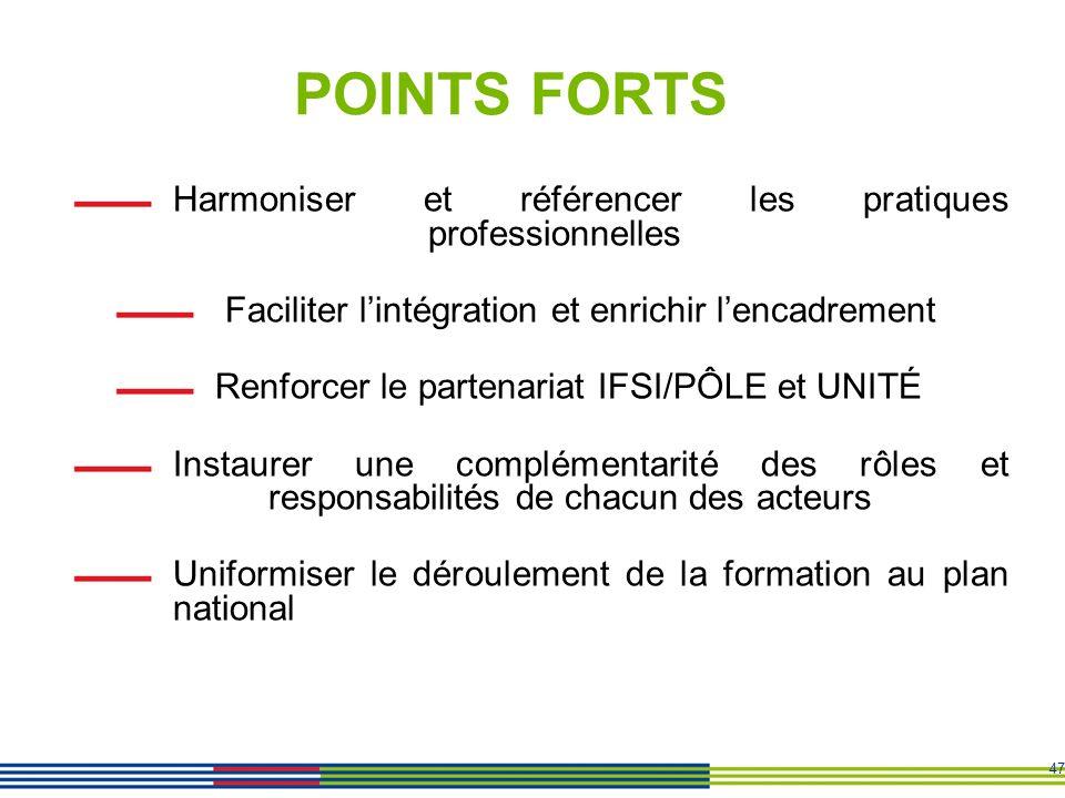 POINTS FORTS Harmoniser et référencer les pratiques professionnelles