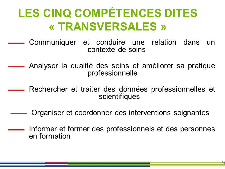 LES CINQ COMPÉTENCES DITES « TRANSVERSALES »
