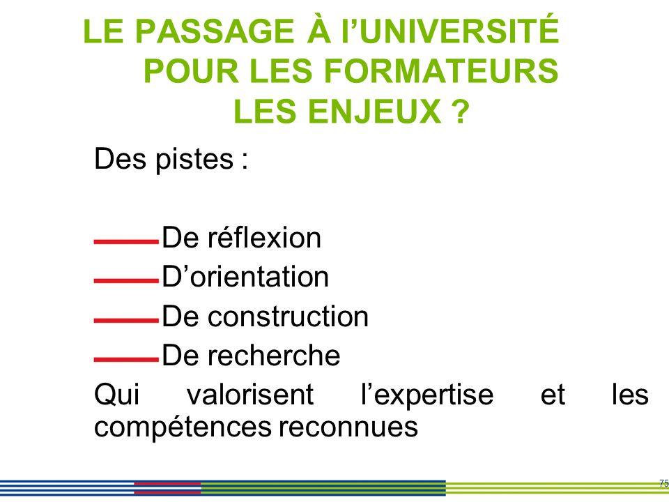 LE PASSAGE À l'UNIVERSITÉ POUR LES FORMATEURS LES ENJEUX