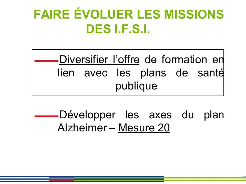 FAIRE ÉVOLUER LES MISSIONS DES I.F.S.I.