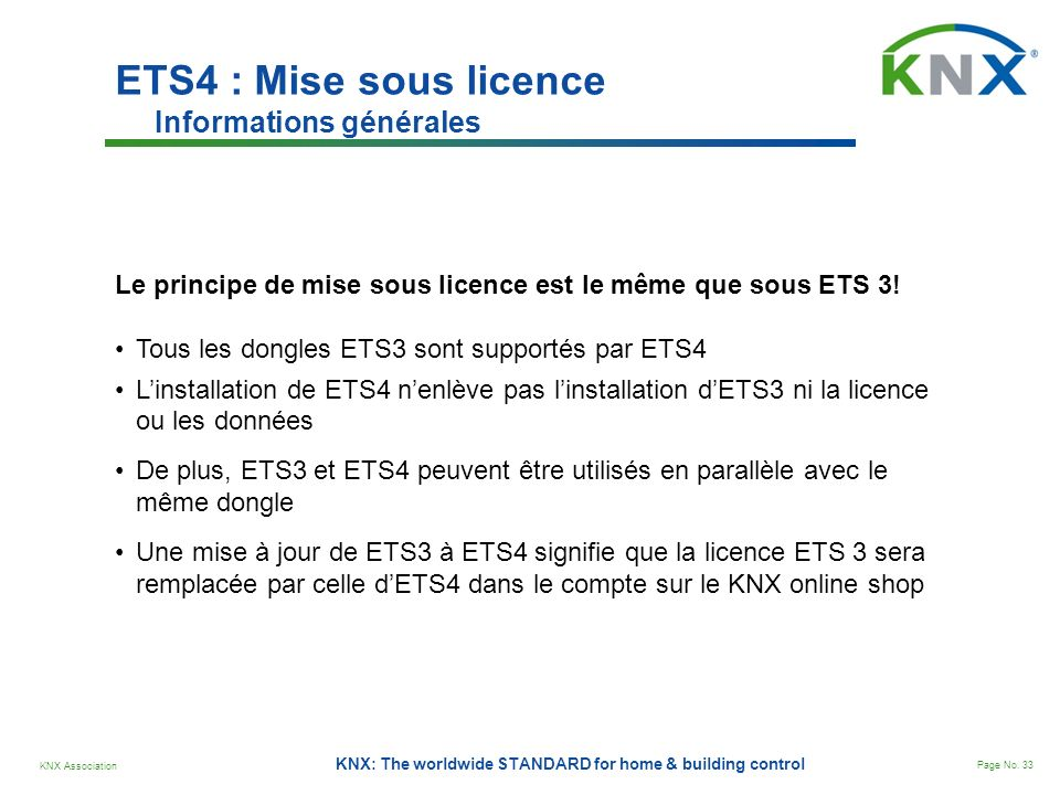 ETS4 : Mise sous licence Informations générales