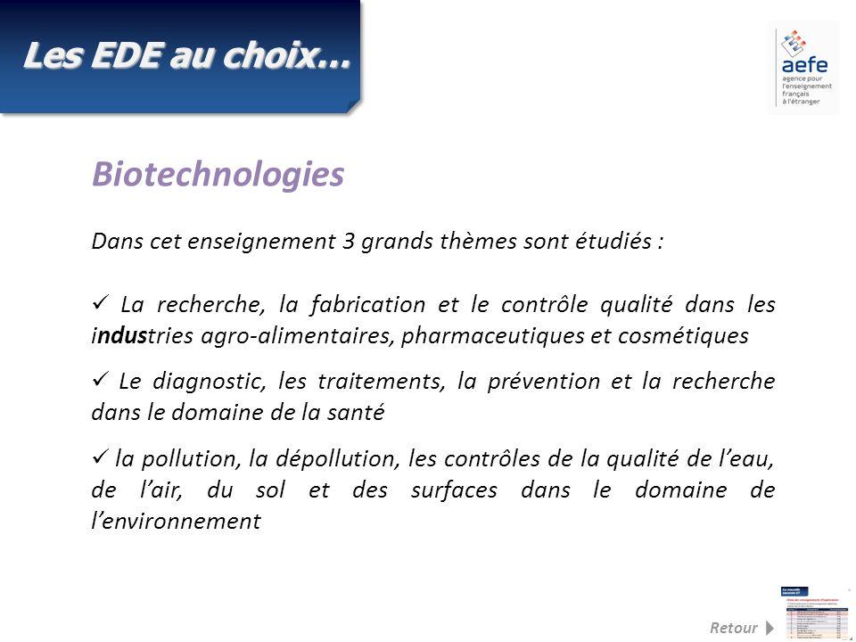 Biotechnologies Les EDE au choix…