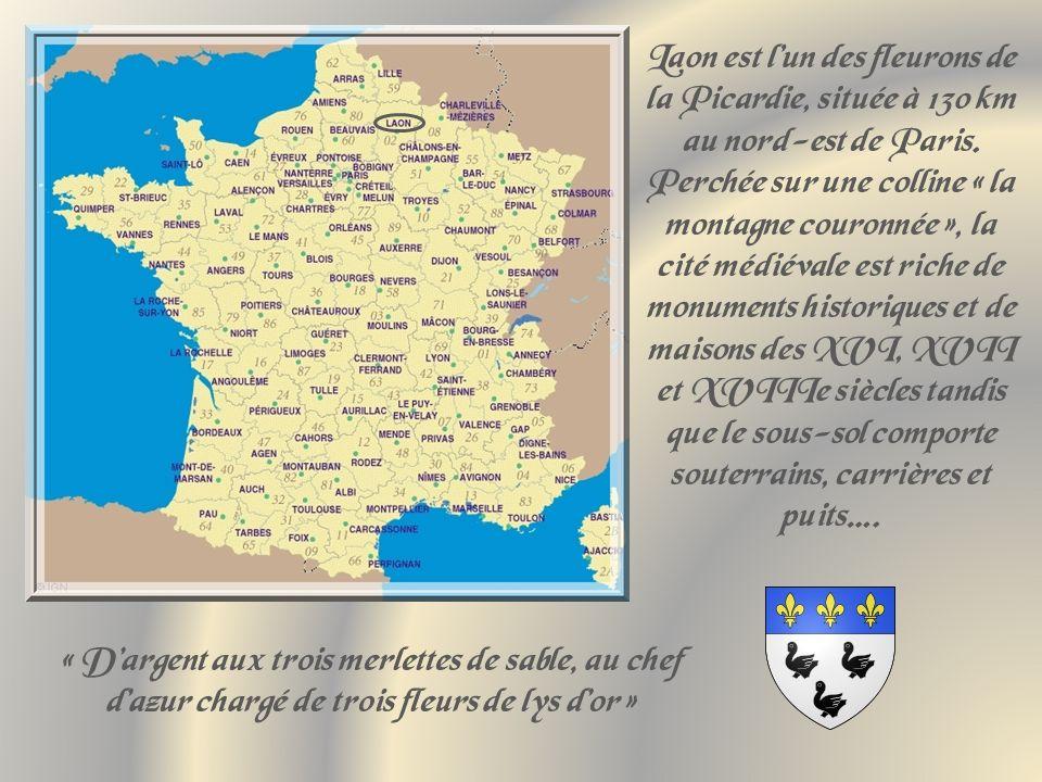 Laon est l'un des fleurons de la Picardie, située à 130 km au nord-est de Paris. Perchée sur une colline « la montagne couronnée », la cité médiévale est riche de monuments historiques et de maisons des XVI, XVII et XVIIIe siècles tandis que le sous-sol comporte souterrains, carrières et puits….