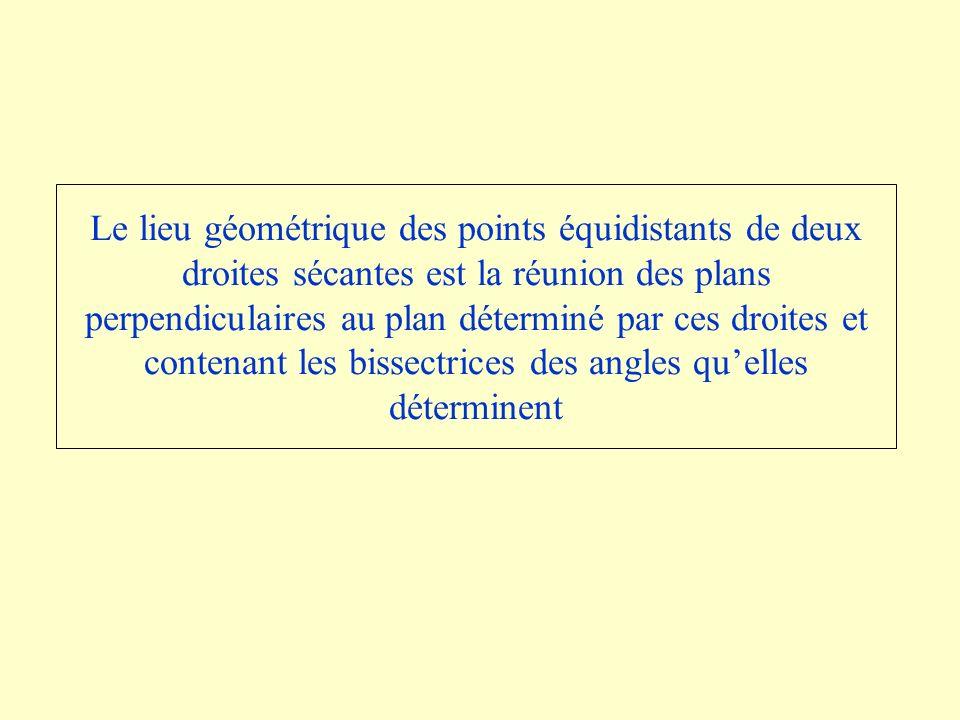 Le lieu géométrique des points équidistants de deux droites sécantes est la réunion des plans perpendiculaires au plan déterminé par ces droites et contenant les bissectrices des angles qu'elles déterminent