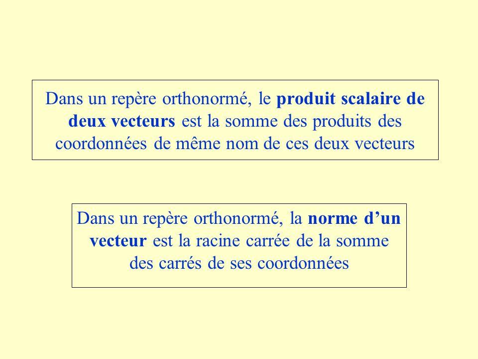 Dans un repère orthonormé, le produit scalaire de deux vecteurs est la somme des produits des coordonnées de même nom de ces deux vecteurs