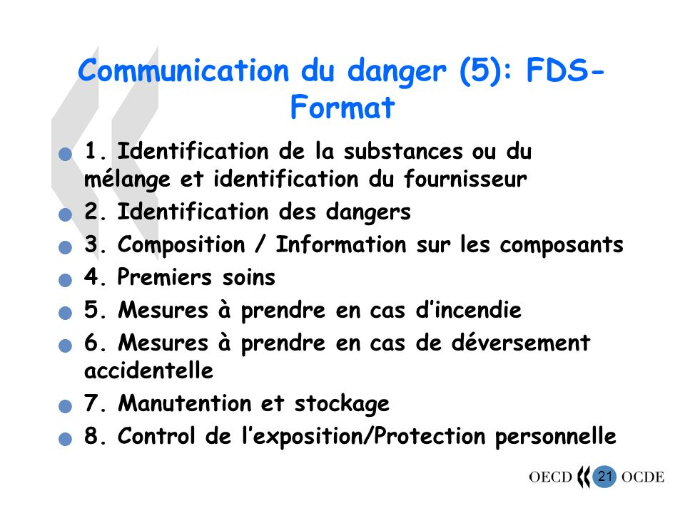 Communication du danger (5): FDS- Format
