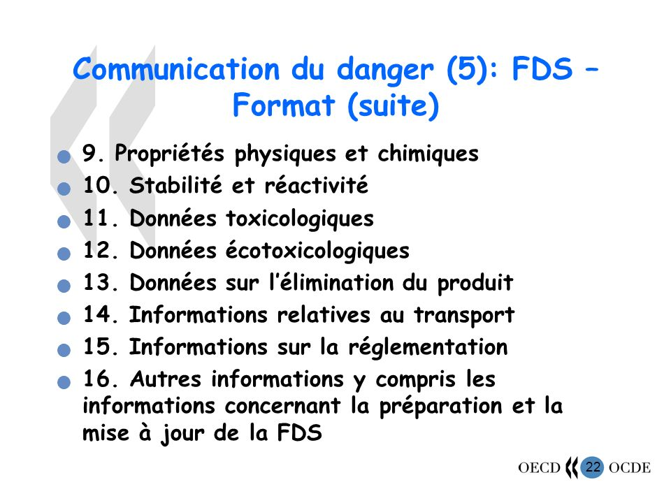 Communication du danger (5): FDS – Format (suite)