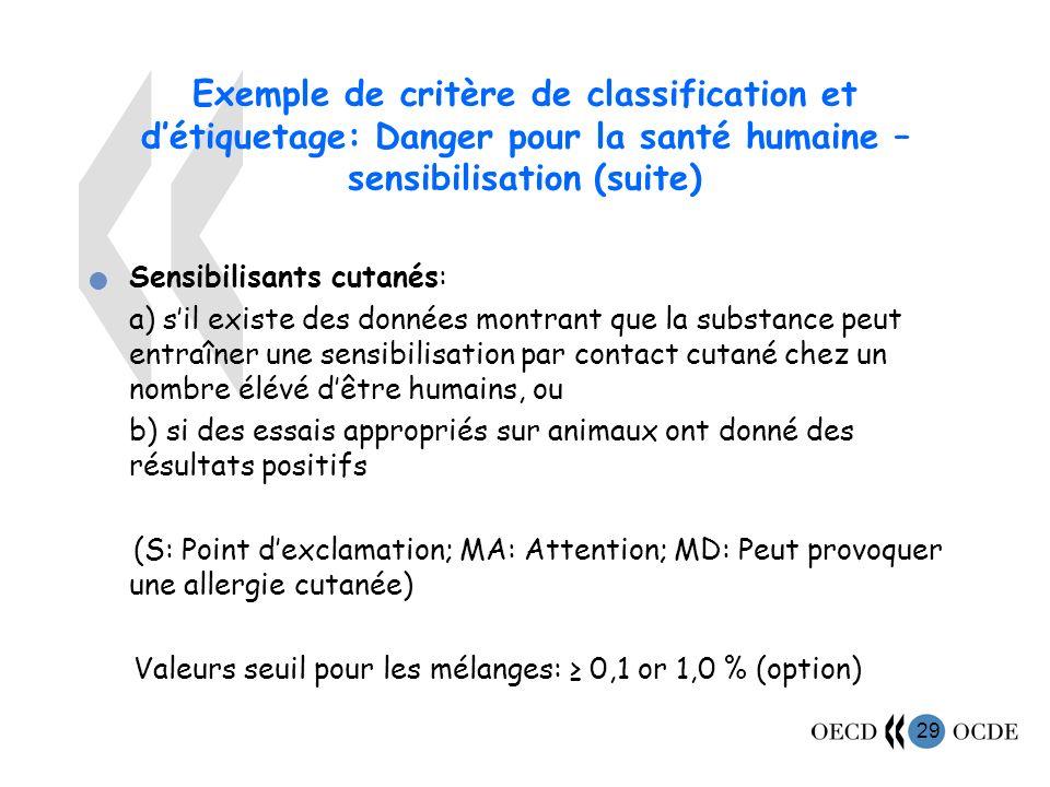 Exemple de critère de classification et d'étiquetage: Danger pour la santé humaine – sensibilisation (suite)