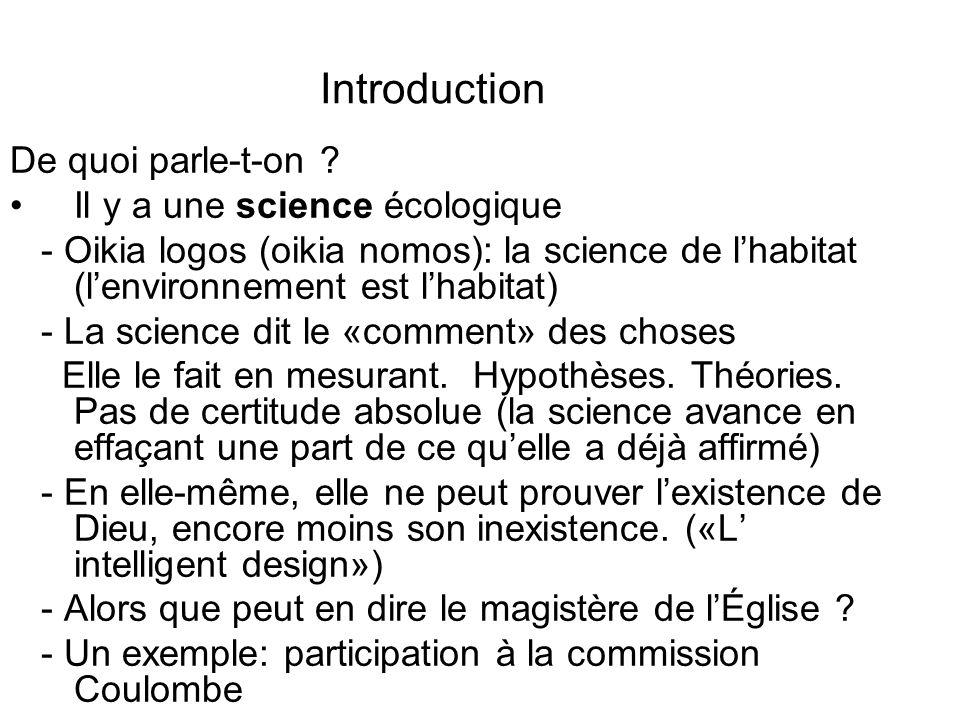 Introduction De quoi parle-t-on Il y a une science écologique