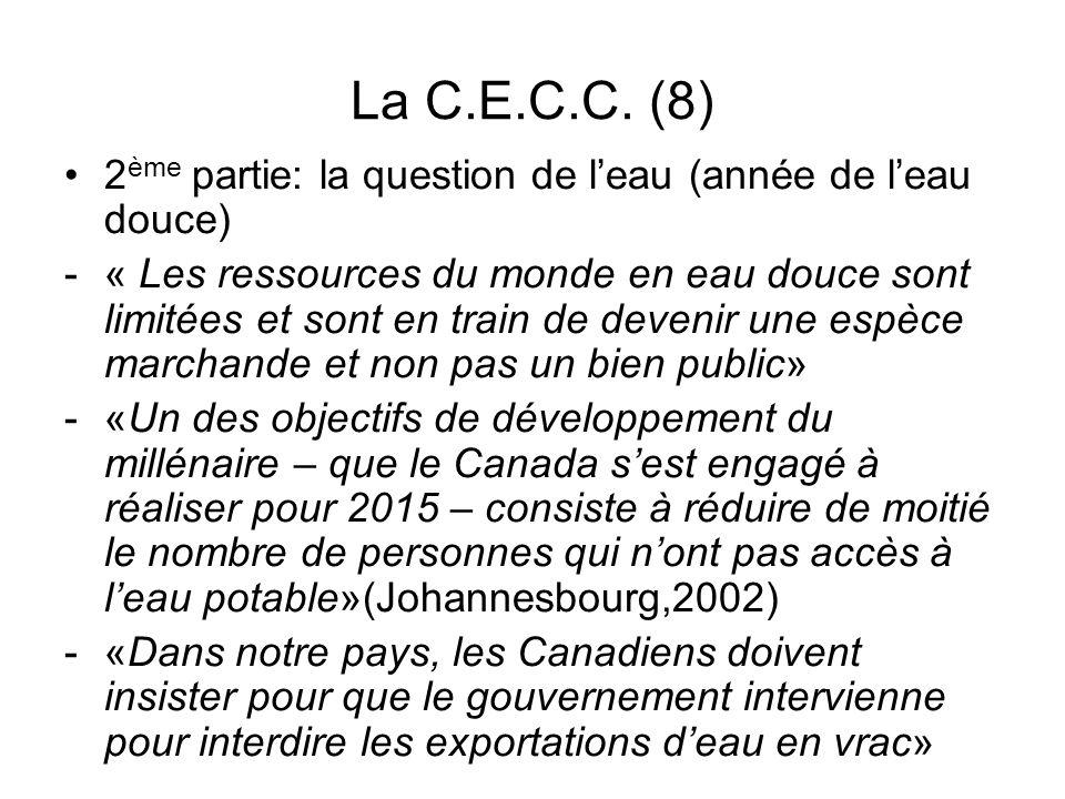 La C.E.C.C. (8) 2ème partie: la question de l'eau (année de l'eau douce)