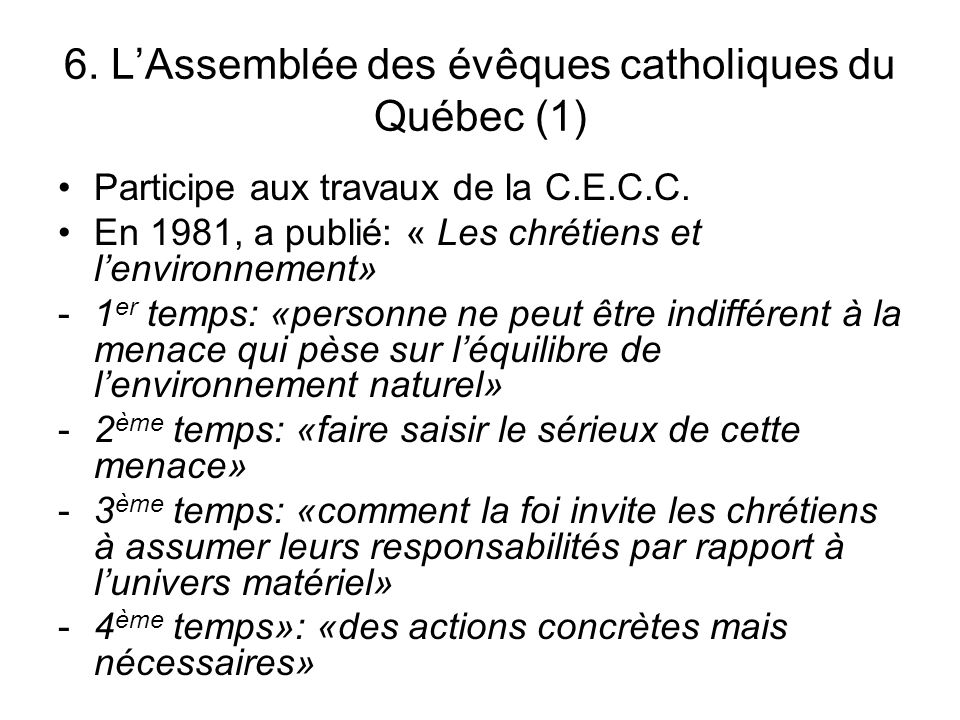 6. L'Assemblée des évêques catholiques du Québec (1)