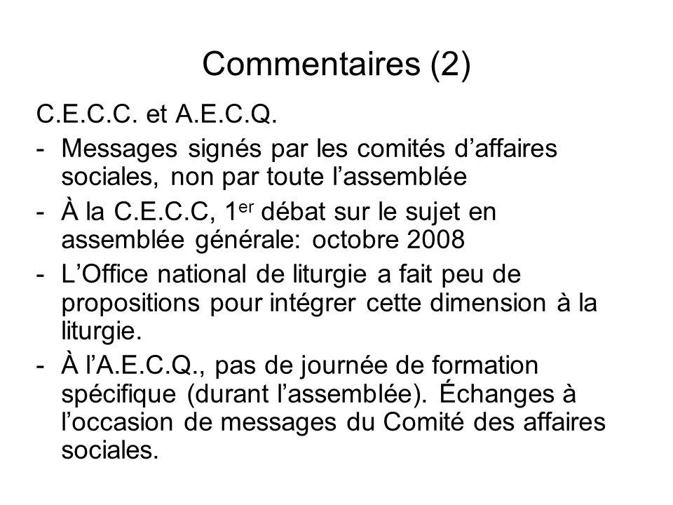Commentaires (2) C.E.C.C. et A.E.C.Q.